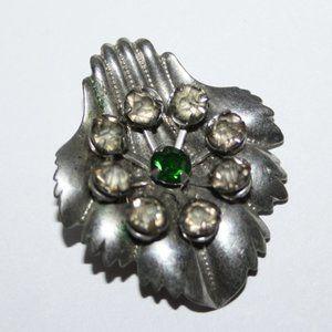 Vintage silver and green rhinestone brooch pendant
